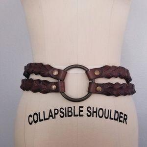 Chico's leather braided statement belt